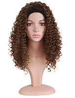 Women Synthetic Wig Capless Medium Length Kinky Curly Brown Ombre Hair Natural Wigs Costume Wig
