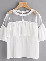 Women's Casual/Daily Simple Blouse,Solid Round Neck Short Sleeves Acrylic