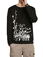 Men's Daily Plus Size Casual Sweatshirt Print Round Neck Micro-elastic Polyester Spandex Long Sleeve Winter Fall