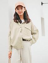Women's Daily Cute Shirt,Solid Shirt Collar Long Sleeves Cotton