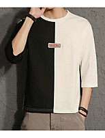 Men's Daily Sweatshirt Solid Color Block Round Neck Inelastic Others Long Sleeve Fall