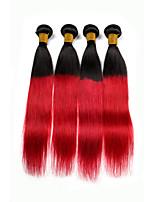 economico -Cappelli veri Brasiliano Colorata Di tendenza Dritto Extensions per capelli 4pcs Nero rosso