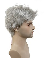 Men Synthetic Wig Capless Short Silver Short Natural Wigs Costume Wig
