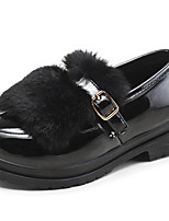 Girls' Shoes Cowhide Fall Winter Comfort Loafers & Slip-Ons For Casual Burgundy Black