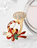 Women's Brooches Cute Style Chrismas Rhinestone Alloy Flower Jewelry For Gift Christmas