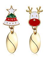 Femme Boucles d'oreille goutte Zircon Plaqué argent Alliage Forme Géométrique Arbre de la vie Bijoux Pour Soirée Noël