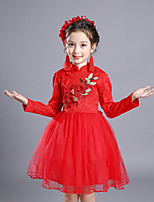 Girl's Solid Dress,Cotton Rayon Polyester Winter Fall Long Sleeve Vintage Party Elegant & Luxurious Red Blushing Pink