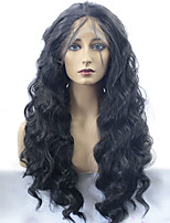 Women Synthetic Wig Lace Front Long Loose Wave Black Middle Part Sew in Natural Wigs Costume Wig