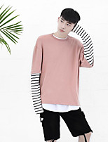 Men's Sports Holiday Sweatshirt Solid Striped Round Neck Micro-elastic Polyester Long Sleeve Spring Fall