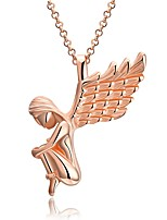 Women's Pendant Necklaces Chain Necklaces Wings / Feather Rose Gold Plated Alloy Fashion Hypoallergenic Jewelry For Gift Christmas