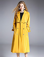8CFAMILY Women's Party Street chic Winter Trench Coat,Solid Shirt Collar Long Sleeve Long Polyester Spandex