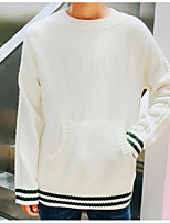 Men's Casual/Daily Regular Pullover,Striped Round Neck Long Sleeves Polyester Fall Medium Micro-elastic