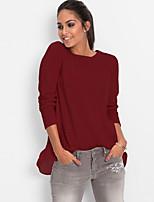 Mujer Noche Casual/Diario Para Todas las Temporadas Camiseta,Escote Redondo Un Color Manga Larga Algodón Acrílico Medio