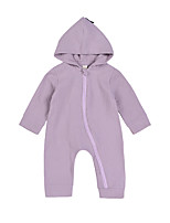 Baby Kids Solid Color One-Pieces,100%Cotton Cross-Seasons Spring Long Sleeve Gray Purple
