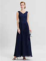 Sheath / Column V-neck Floor Length Chiffon Lace Mother of the Bride Dress with Beading Pleats by LAN TING BRIDE®