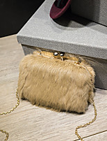 Women Bags All Seasons Suede Evening Bag Feathers / Fur for Wedding Event/Party White Black Gray Khaki