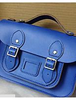 Women Bags All Seasons Cowhide Shoulder Bag Zipper for Casual Blue