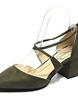 Damen Schuhe Künstliche Mikrofaser Polyurethan Frühling Komfort High Heels Walking Blockabsatz Spitze Zehe Schleife Schnalle Für Schwarz