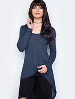 Mujer Chic de Calle Festivos Casual/Diario Otoño Camiseta,Escote Redondo Un Color Manga Larga Algodón