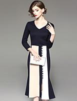 Gaine Robe Femme Sortie Décontracté / Quotidien Style moderne Classique & Intemporel,Couleur Pleine Rayé Col en V Midi Manches Longues
