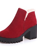Women's Shoes Suede Fall Fashion Boots Boots Chunky Heel Round Toe For Casual Red Black