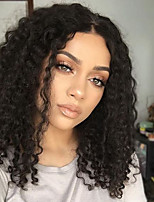 Women Human Hair Lace Wig Brazilian Human Hair U Part 130% Density Layered Haircut With Baby Hair Kinky Curly Wig Black Medium Brown Dark
