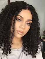 жен. Бразильские волосы Натуральные волосы U-образный 130% плотность Стрижка каскад С пушком Кудрявый вьющиеся Парик Черный как смоль