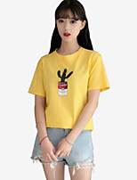 Women's Going out Casual T-shirt,Print Round Neck Short Sleeves Cotton