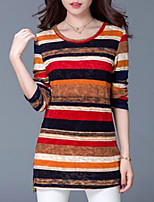 Women's Daily Sexy Spring Fall T-shirt,Striped Round Neck Long Sleeves Cotton Medium