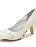 Femme Chaussures Satin Printemps Eté Confort Chaussures de mariage Bout rond Strass Billes Perle Imitation Perle Fleur en Satin Paillette