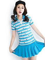 Women's Going out Summer T-shirt Skirt Suits,Striped Round Dots Shirt Collar Half Sleeves