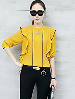 Women's Casual/Daily Sexy Spring Fall Blouse,Solid Stand Long Sleeves Polyester Medium