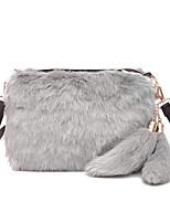 Women Bags Fur Shoulder Bag Zipper for Casual Outdoor All Seasons Gray Fuchsia Brown Black/White Khaki