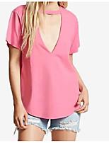 Tee-shirt Femme,Couleur Pleine Sortie Décontracté / Quotidien Chic de Rue Eté Manches Courtes Col Arrondi Coton Moyen