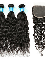 Remy Peruvian Hair Weft with Closure Water Wave Hair Extensions Four-piece Suit Black