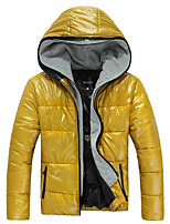 Men's Regular Down Coat,Simple Active Chinoiserie Sports Going out Solid-Cotton Polyester Polyester Long Sleeves