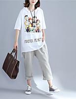 T-shirt Da donna Casual Romantico Con stampe Con cappuccio Cotone Manica corta