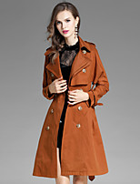 Women's Daily Going out Street chic Fall Coat,Solid Notch Lapel Long Sleeve Long Polyester