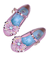 Girls' Shoes Sparkling Glitter Spring Fall Comfort Novelty Flats Bowknot Buckle For Wedding Dress Blushing Pink Blue Purple