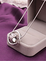 Women's Pendant Necklaces Circle Heart Rhinestone Alloy Love Elegant Jewelry For Gift Evening Party