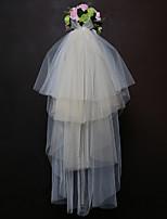 Four-tier Wedding Veil Fingertip Veils With Satin Bow Tulle Wedding Accessories