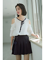 Women's Going out Simple Cute Summer Blouse,Solid Round Neck Short Sleeves Cotton Others Thin