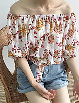Women's Daily Sexy Shirt,Floral Boat Neck Half Sleeves Cotton
