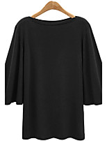 Women's Daily Holiday Street chic Winter Fall T-shirt,Solid Round Neck 3/4 Length Sleeves Cotton