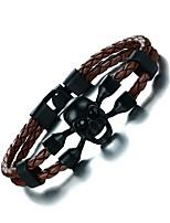 Men's Bracelet Leather Bracelet Rhinestone Vintage Rock Hiphop Stainless Steel PU Skull Jewelry For Daily Casual
