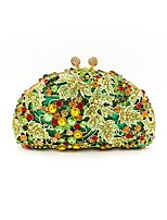 Women Bags All Seasons Metal Evening Bag Crystal Detailing for Wedding Event/Party Light Green