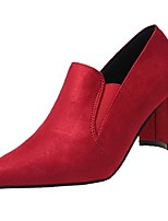 Women's Shoes Cashmere Fall Comfort Heels Chunky Heel Pointed Toe Gore For Casual Red Black