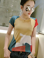 Women's Daily Casual T-shirt,Color Block Round Neck Short Sleeves Others