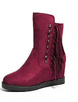Women's Shoes PU Winter Fashion Boots Boots Wedge Heel Round Toe For Casual Party & Evening Wine Black