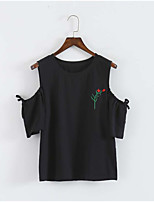 Women's Daily Cute T-shirt,Embroidery Round Neck Short Sleeves Cotton